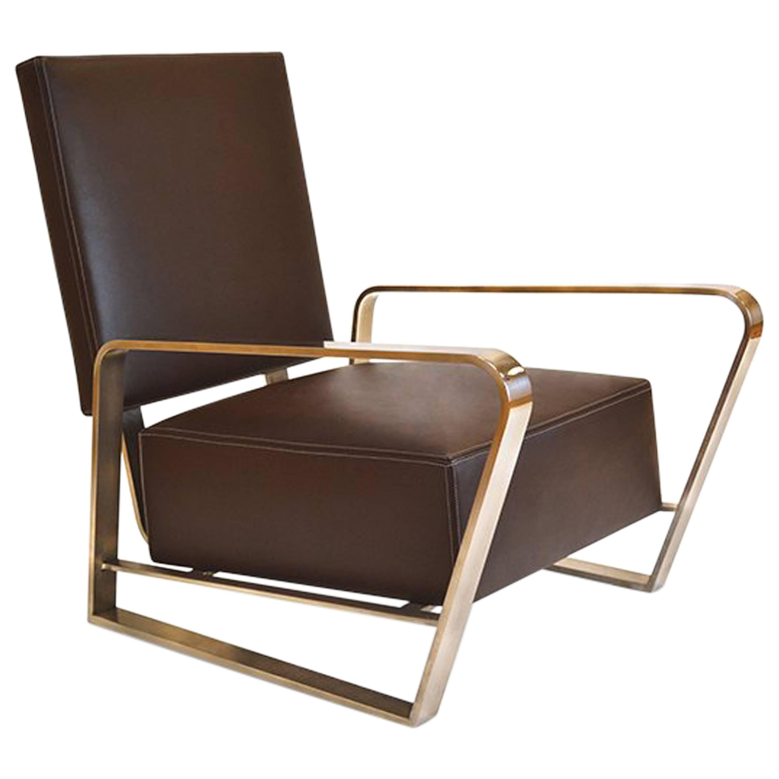 Corliss Lounge Armchair with Leather Seating and Polished Stainless Steel Body