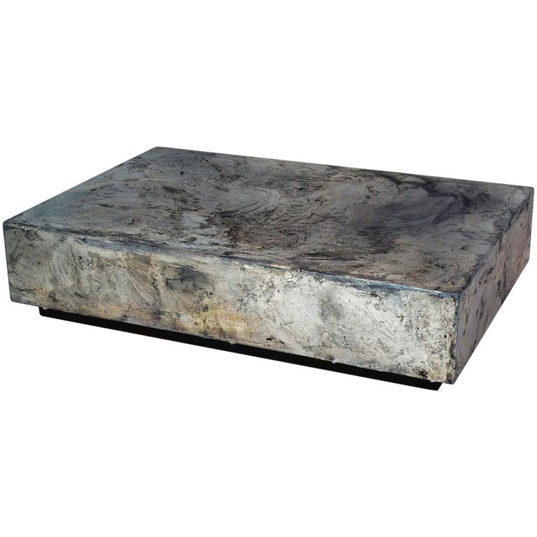 Pewter Cocktail and Coffee Table, Made from Pewter on Steel For Sale