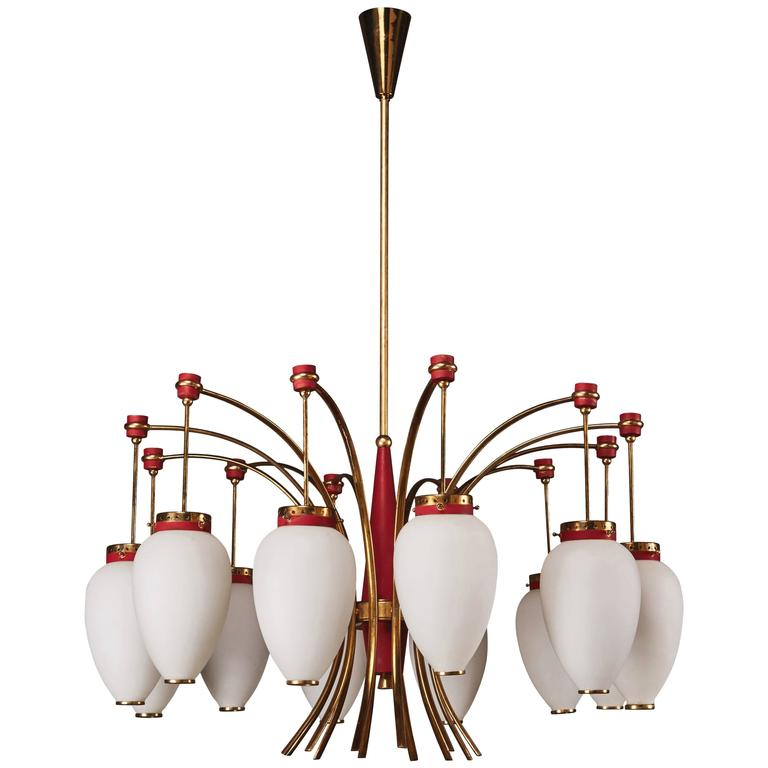 Italian Stilnovo Twelve-Globe Chandelier