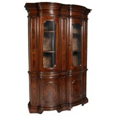 Italian Baroque Renaissance Display Cabinet in Walnut & Burl Walnut