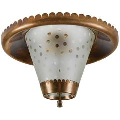 Italian Brass and Etched Glass Flush Mount Ceiling Light