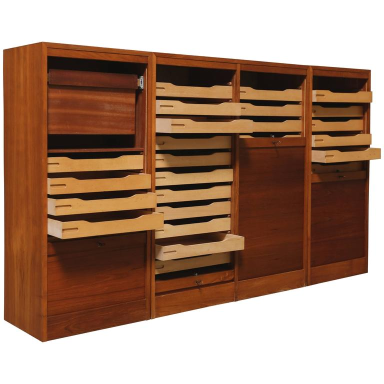 Teak Roll Top Cabinet For