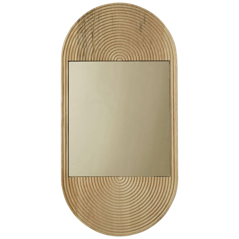June Mirror, Small in Carved White Oak and Bronze Mirror For Sale
