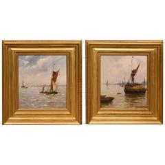"""Off Greenwich"" and ""On the Thames"" Pair by Gustave de Breanski"