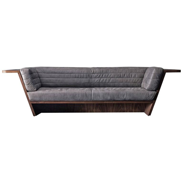 Racing Sofa with Grey Genuine Leather and Solid Walnut Wood For Sale