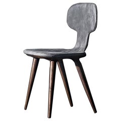 Racing Dinning Chair with Grey Genuine Leather and Solid Walnut Wood