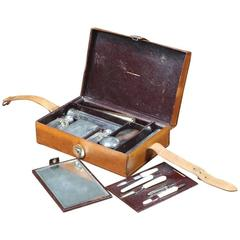 1920s Moynat Toilet Set Silver and Key