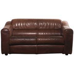 1970s, Buffalo Leather Two-Seat Sofa