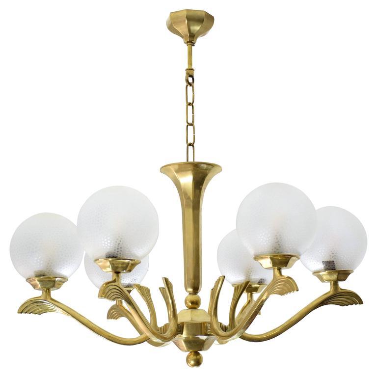 French Art Deco Brass Wings Chandelier, 1930's