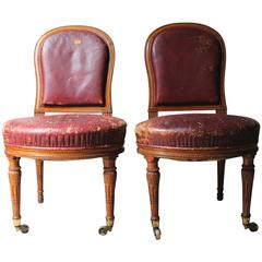 Pair of Early Victorian Golden Oak and Leather Upholstered Chairs, circa 1840