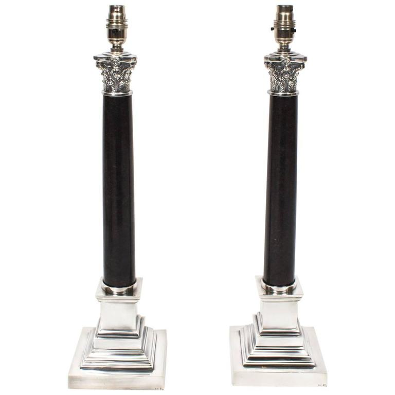 Pair of black marble and silver plate corinthian column for Black and silver lamps