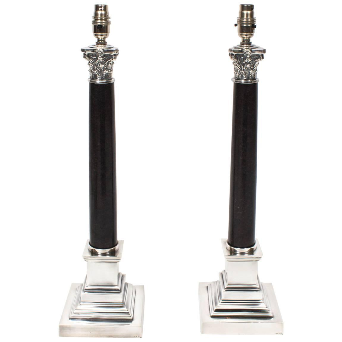 Pair of black marble and silver plate corinthian column table pair of black marble and silver plate corinthian column table lamps for sale at 1stdibs geotapseo Choice Image