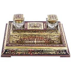 19th Century French Boulle Cut Brass Inlaid Inkstand