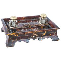 19th Century Willliam IV Inlaid Mother-of-Pearl Boulle Inkstand