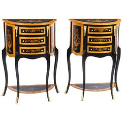 Pair of Half Moon Ebonized Marquetry Bedside Chests Cabinets
