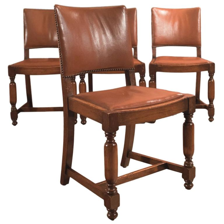 Set of Four Antique Dining Chairs, Edwardian Oak and Leather, circa 1910  For Sale - Set Of Four Antique Dining Chairs, Edwardian Oak And Leather, Circa