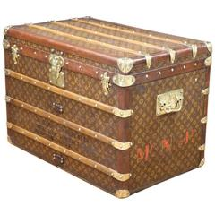 1930s Louis Vuitton Steamer Trunk, with Stencil Monogram Canvas