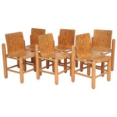 Mid-Century Six Wood Chairs with Incredible Wood Detail, 1960s-1970s, France