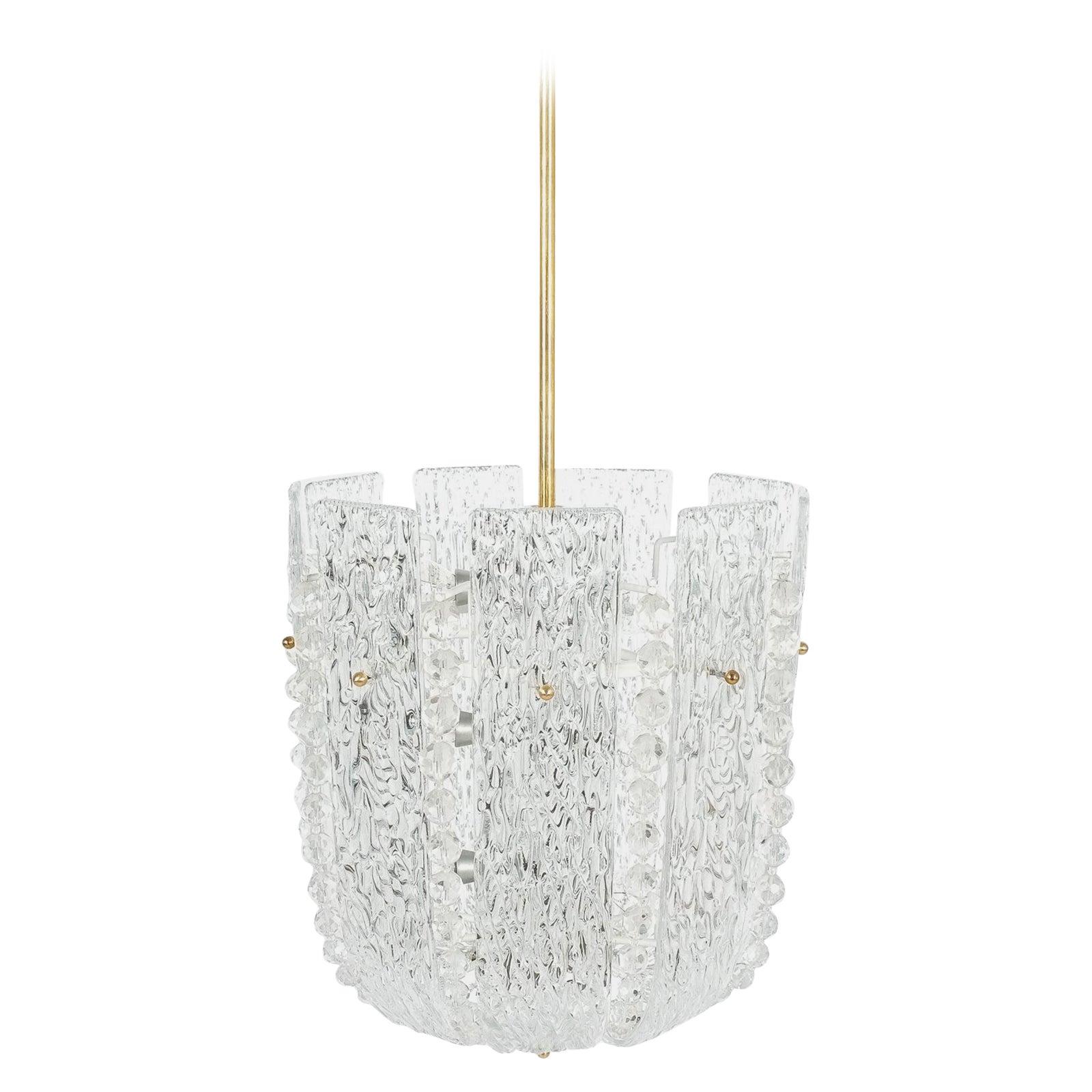 J.T Kalmar Glass and Brass Basket Chandelier Lamp, Austria 1950