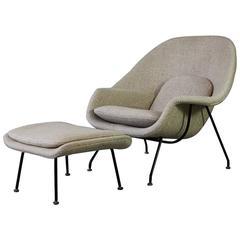 Original Eero Saarinen Womb Chair and Foot Stool, Knoll circa 1970
