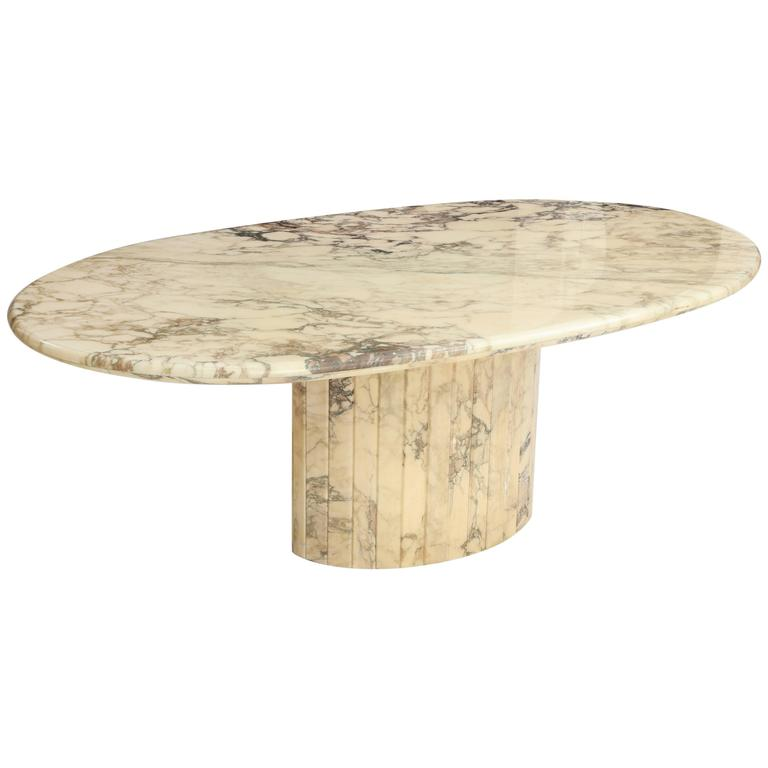 Vintage White Brown Grey Oval Marble Dining Table MidCentury - Mid century marble dining table