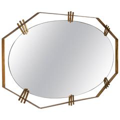 Brass Mirror by Santambrogio & De Berti, Italy, 1950s