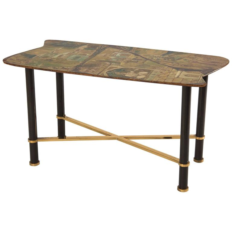 Extraordinary Hand-Painted Low Table by Decalage, Turin, 1956