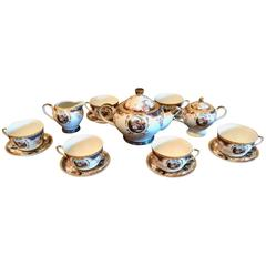 Antique 19th Century Porcelain 15-Piece Coffee Cup Set with 24-Karat Gold