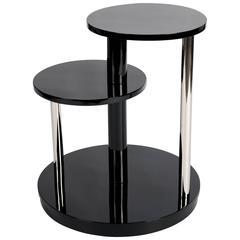 Schwarz Lackierter, Französischer Art Deco Couchtisch oder Beistelltisch