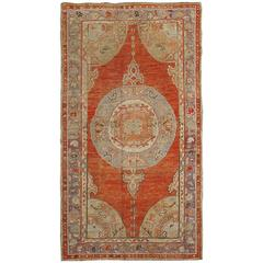 Turkish Oushak Carpet with Floral Motifs, Red Field and Light Grey Border