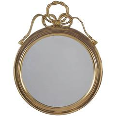 Round Brass Mirror, French, circa 1960