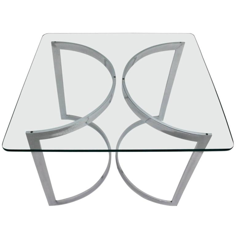 Chrome and Glass Dining Room Table, 1970, United Kingdom