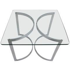Mid Century Modern Vintage Chrome Glass Dining Room Table, 1970, United Kingdom