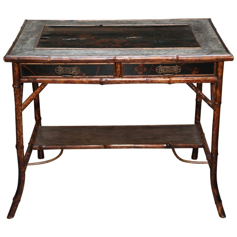 Superb 19th Century English Bamboo Writing Table For Sale