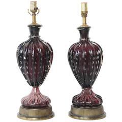 Pair of Vintage Amethyst Murano Lamps