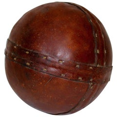 Art Deco Era Vintage Brown Stitched Leather Ball, 1920s