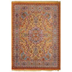 Fine Silk and Gold Thread Vintage Tabriz Persian Rug