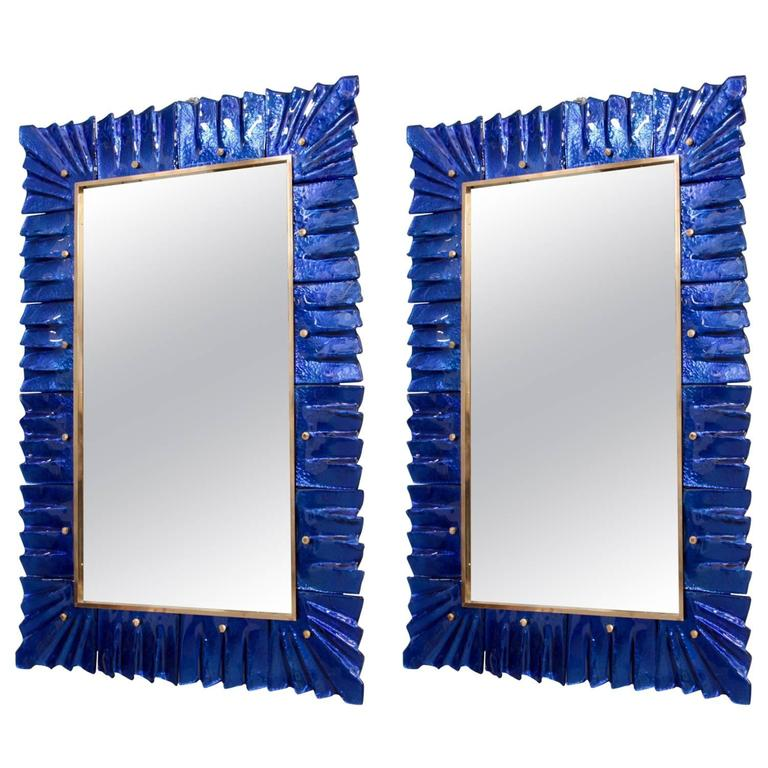 1 of 2 Huge Brass and Blue Murano Glass Mirror