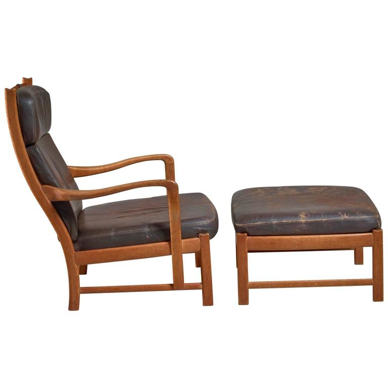 Scandinavian Oak And Brown Leather Lounger With Ottoman