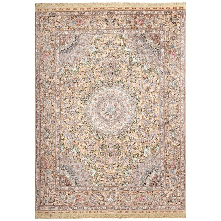 Ivory Wool And Silk Persian Naein Area Rug For Sale At 1stdibs: Fine Silk And Gold Thread Vintage Tabriz Persian Rug For