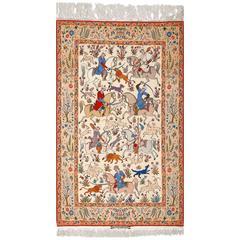 Fine Hunting Design Vintage Isfahan Persian Rug
