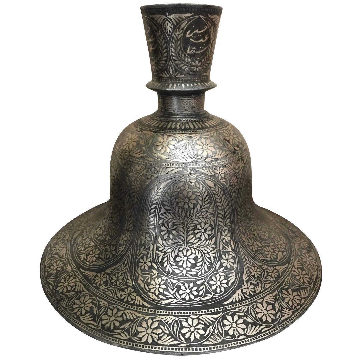 Indian table lamps 15 for sale at 1stdibs indian mughal silver inlaid bidri hookah base geotapseo Gallery