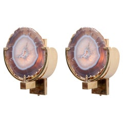 Pair of Wonderful Agate Stone and Brass Wall Lamps or Sconces