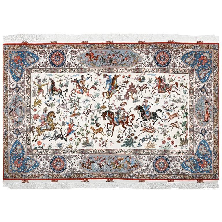 Fine Hunting Design Vintage Tabriz Persian Rug