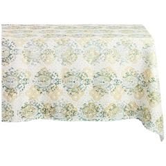 Green and Gold Hand Printed Linen Square Tablecloth