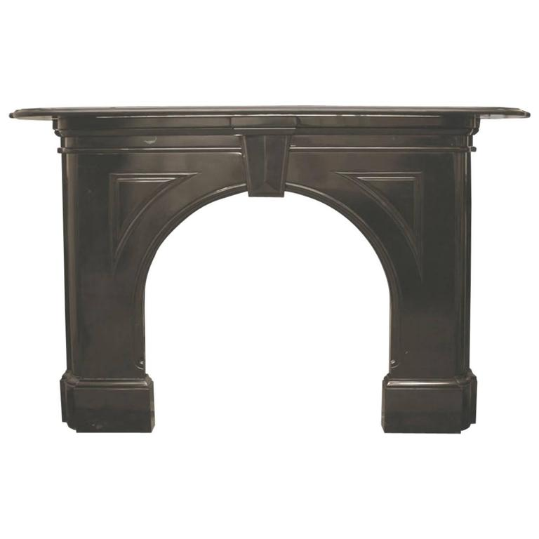 Antique Victorian Black Marble Fireplace With Arched Aperture For