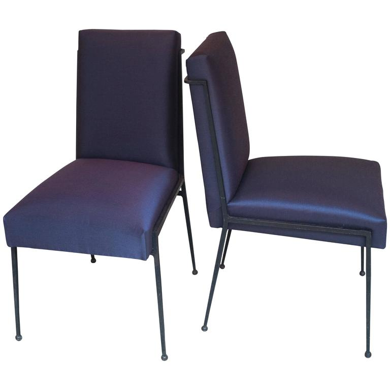 French Deco Iron Dining Chairs with Purple Silk Fabric Newly Upholstered 1