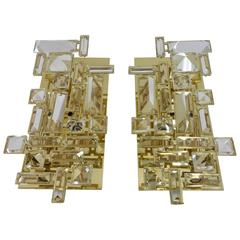 Pair of Hand-Cut Crystal Sconces