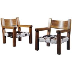 Pair of French Walnut Armchairs with Cow Hide Seats