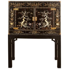 Early 20th Century Vietnamese Black Two-Door Cabinet on Black Stand